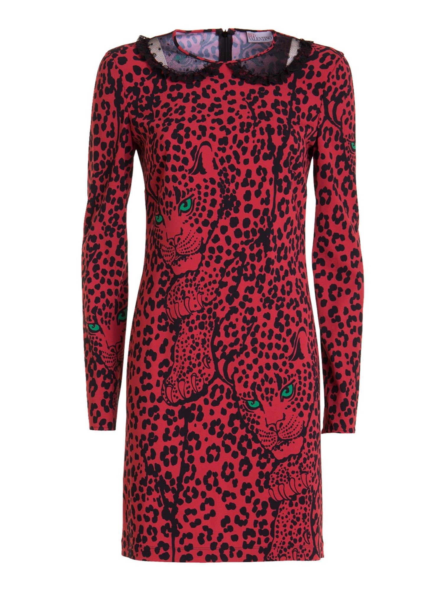 Red Valentino LEO PANTHER PRINT STRETCH VISCOSE DRESS IN RED