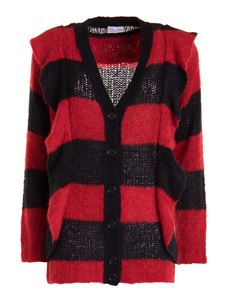 Red Valentino - Ruffled striped alpaca blend cardigan in black and red