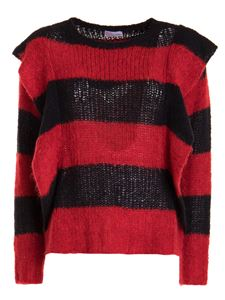Red Valentino - Flounced striped alpaca blend sweater in black and red