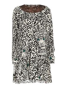 Red Valentino - Leo Panther print stretch cotton dress in white and black