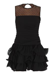 Red Valentino - Georgette and point d'esprit tulle mini dress in black