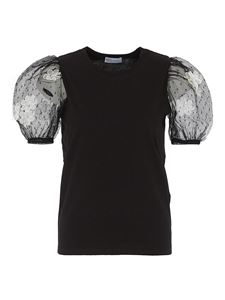 Red Valentino - Tulle sleeve cotton T-shirt in black