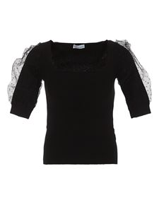 Red Valentino - Tulle detailed viscose blend T-shirt in black