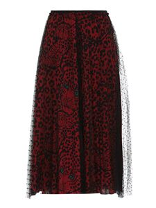 Red Valentino - Point d'esprit tulle pleated skirt in black and red