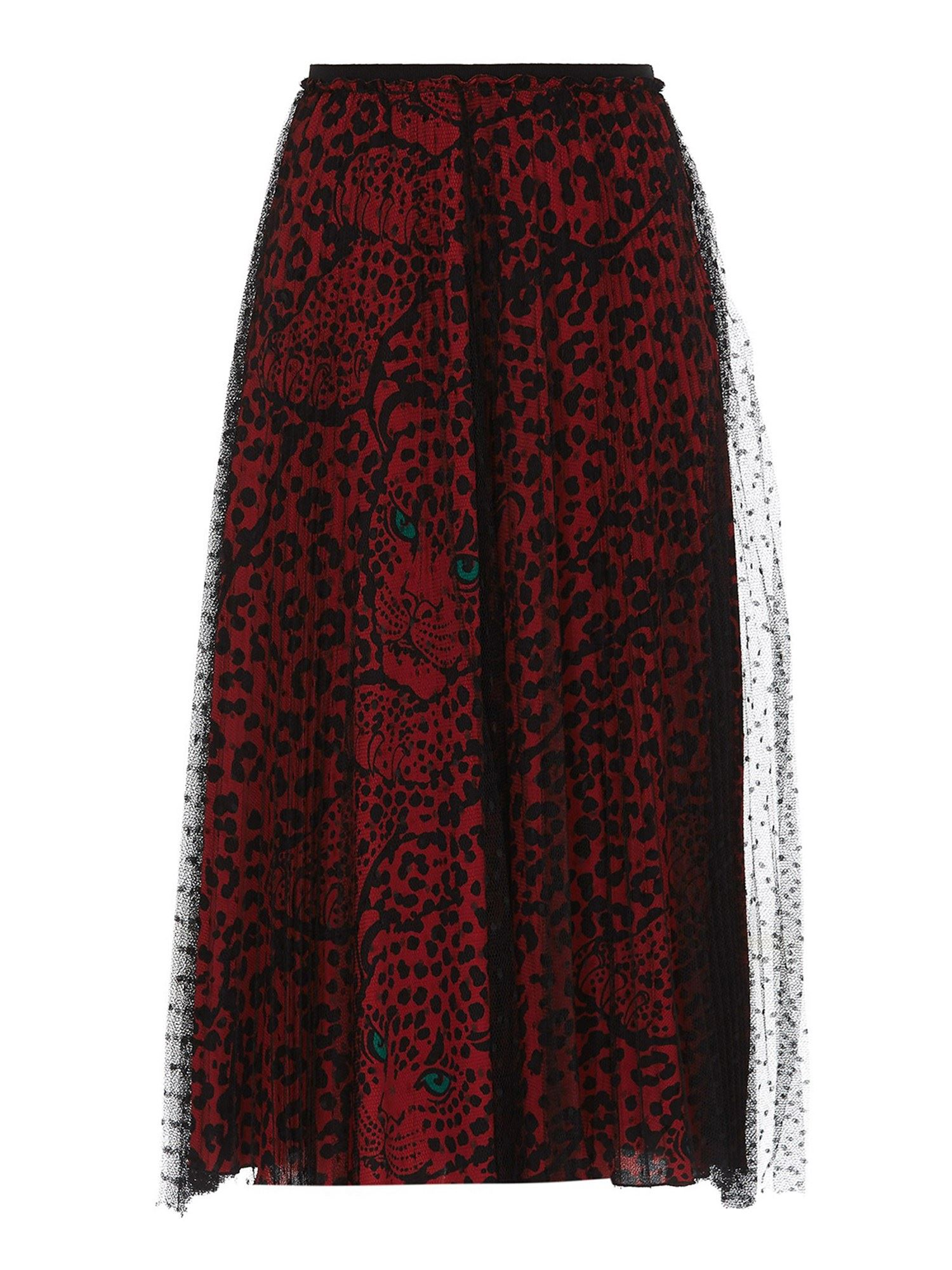 Red Valentino POINT D'ESPRIT TULLE PLEATED SKIRT IN BLACK AND RED
