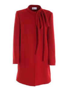 Red Valentino - Maxi bow detailed wool blend coat in red