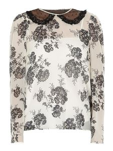 Red Valentino - Floral print silk blouse in white
