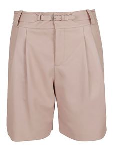 Red Valentino - Shorts in pelle con cintura rosa