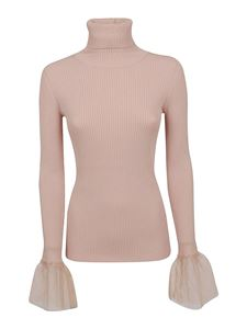 Red Valentino - Point d'esprit tulle cuff turtleneck in pink