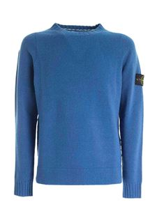 Stone Island - Logo patch pullover in blue