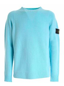 Stone Island - Logo patch pullover in light blue