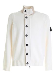 Stone Island - Logo patch pullover cardigan in white