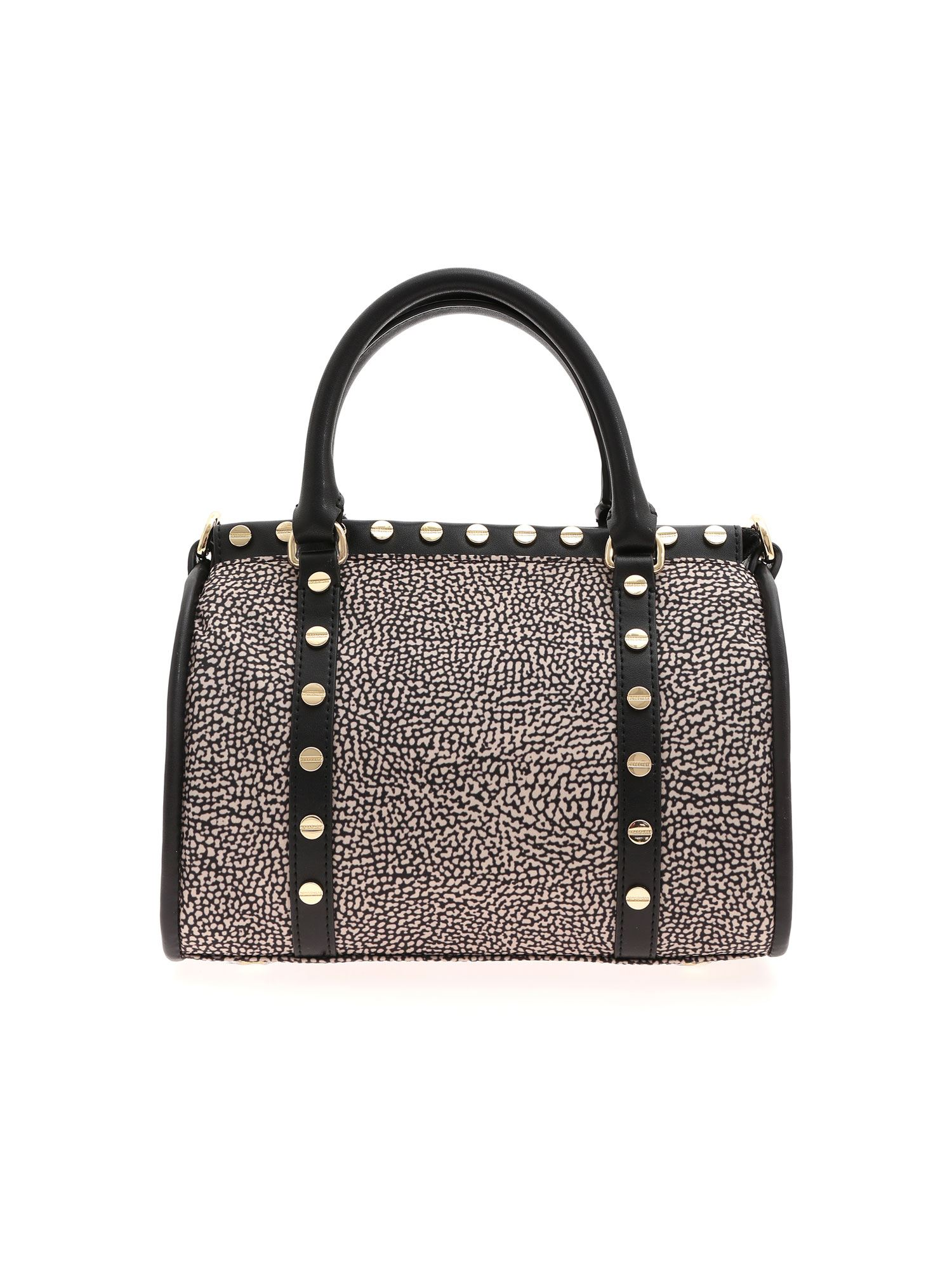 Borbonese Op Print Handbag In Black And Beige