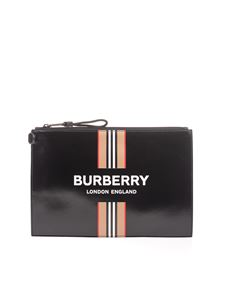 Burberry - Clutch bag in black with logo print