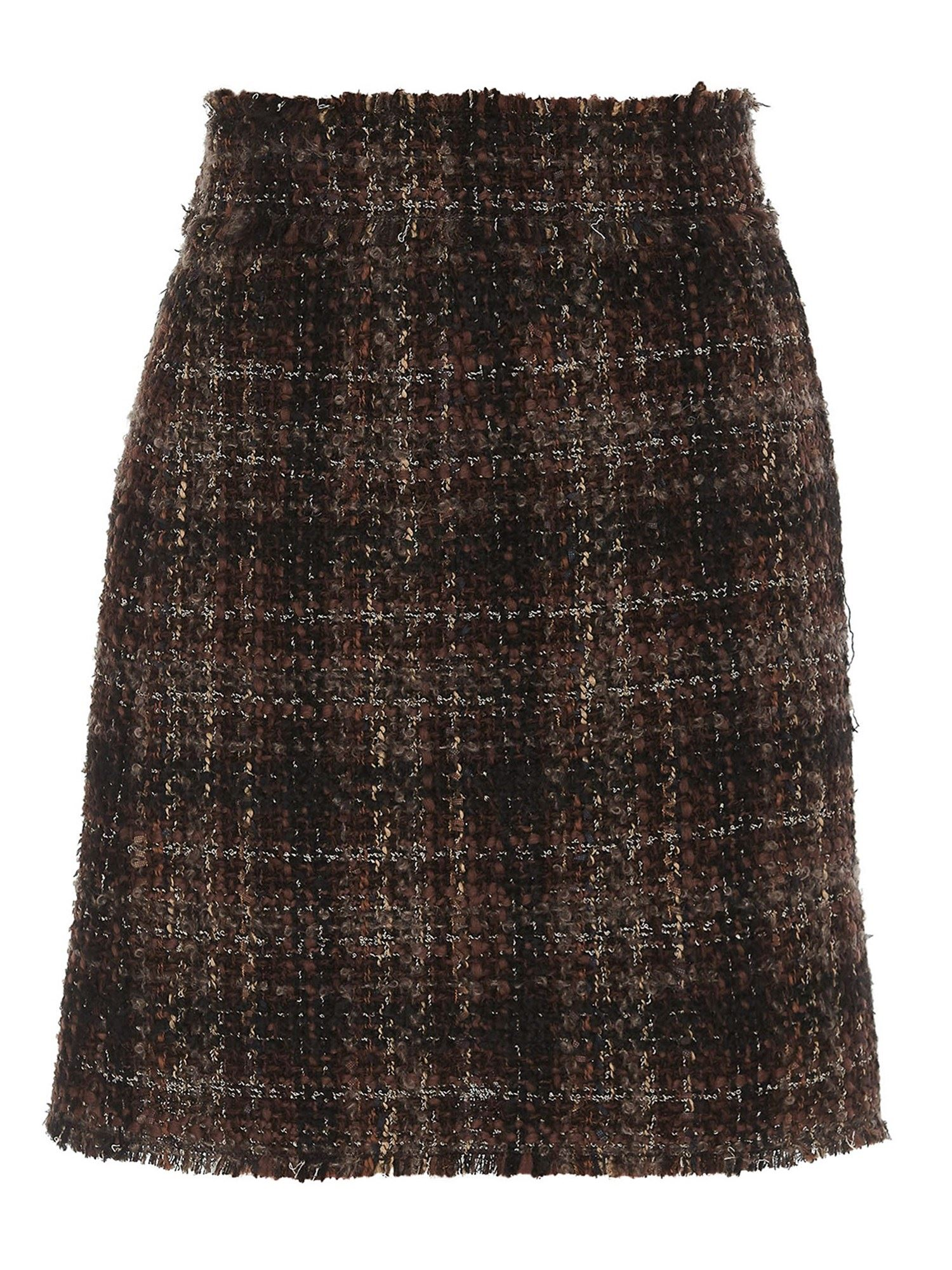 Dolce & Gabbana TWEED MINI SKIRT IN BROWN
