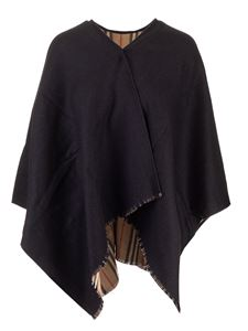 Burberry - Black cape with iconic striped pattern