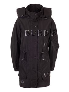 Burberry - Black parka with Horseferry print