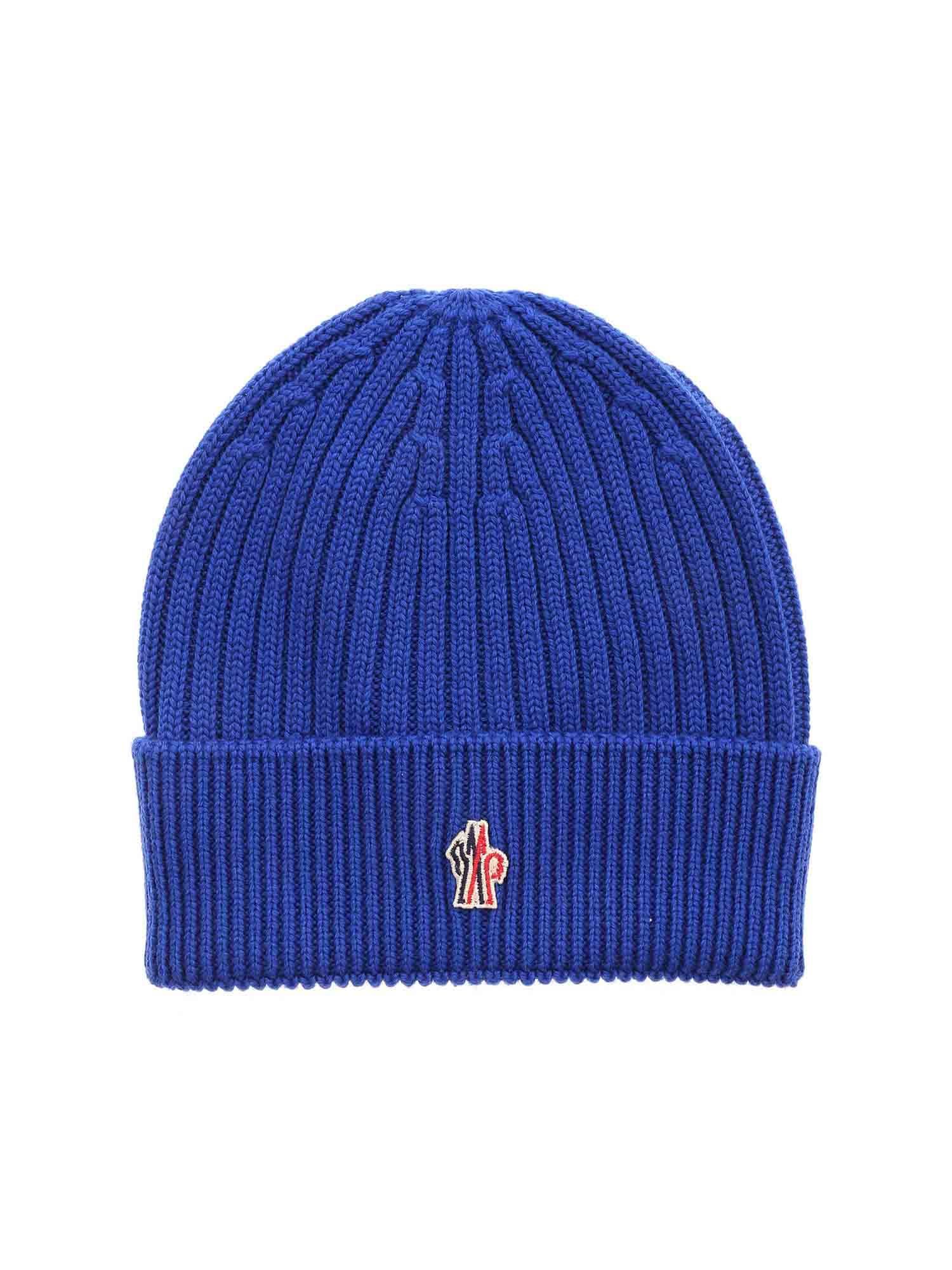 Moncler Grenoble RIBBED BEANIE IN BLUE