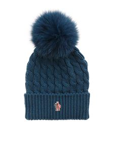 Moncler Grenoble - Ribbed beanie in blue-green