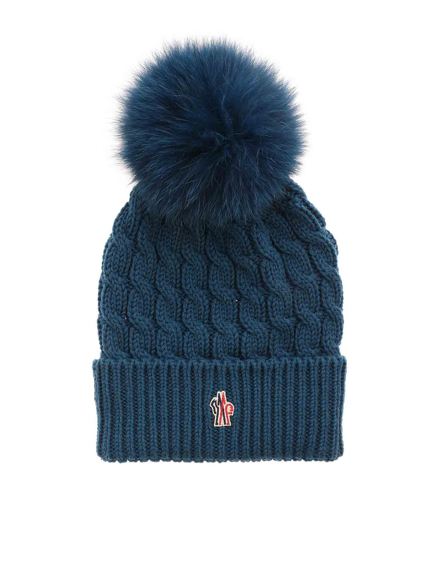 Moncler Grenoble RIBBED BEANIE IN BLUE-GREEN