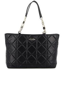 Love Moschino - Quilted faux leather tote in black