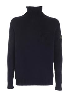 Hogan - Blue high neck sweater featuring patch pocket