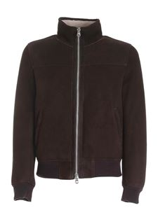 Stewart - Shearling Suede Ironed bomber jacket in brown