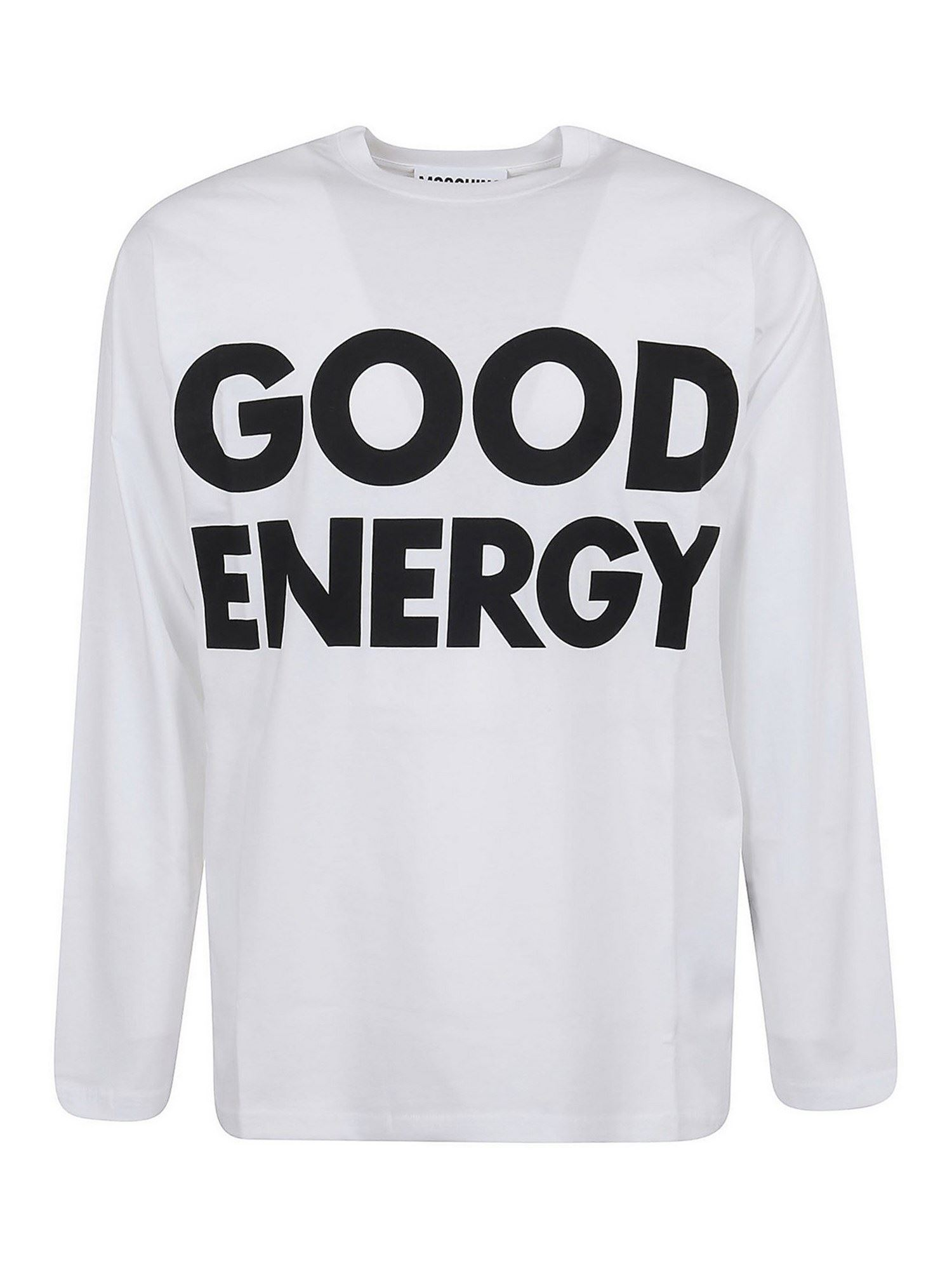 Moschino Cottons GOOD ENERGY LONG SLEEVE T-SHIRT IN WHITE