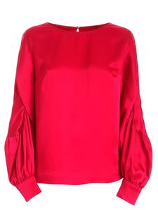 Clips - Satin long sleeve blouse in cherry color