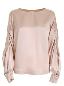 Clips - Satin long sleeve blouse in nude color