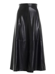 Clips - Faux leather loose fit skirt in black