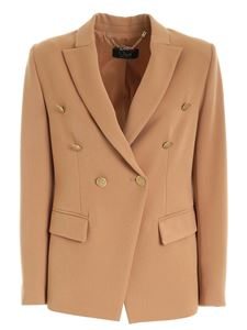 Clips - Double-breasted jacket in camel color