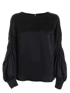 Clips - Satin long sleeve blouse in black