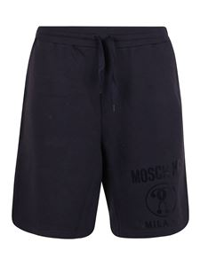 Moschino - Shorts blu con stampa Double Question Mark