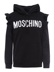 Moschino - Bead logo ruffled hoodie in black