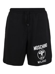 Moschino - Shorts stampa Double Question Mark neri