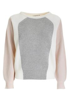 Kangra Cashmere - Color block sweater in nude grey and cream color