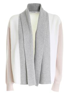 Kangra Cashmere - Color block cardigan in nude grey and cream color