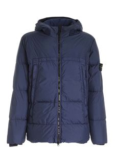 Stone Island - Blue quilted down jacket with logo patch