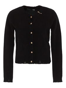Versace - Safety Pin cashmere cardigan in black