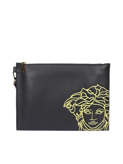 Versace - Medusa head print leather clutch in black