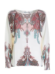 Blumarine - Printed sweater in ivory color