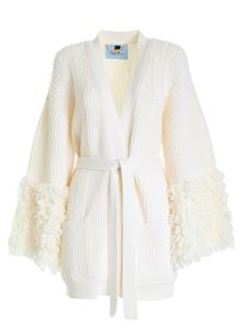 Blumarine - Tricot effect maxi cardigan in ivory color