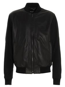 Dolce & Gabbana - Black leather jacket with contrasting sleeves