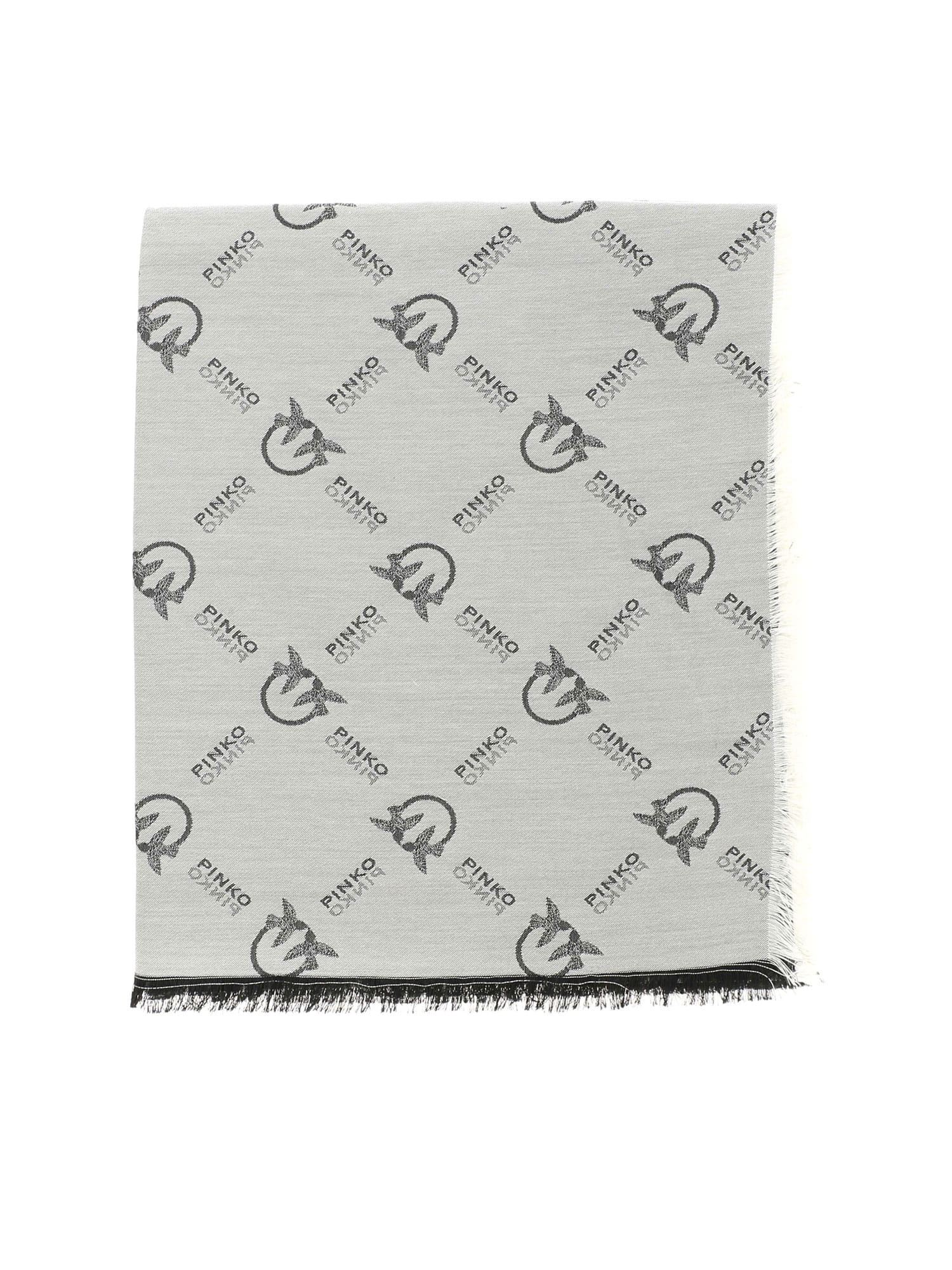 Pinko PINKO BREVIS 1 SCARF IN WHITE AND BLACK