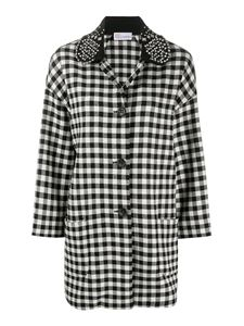 Red Valentino - Embellished collar Vichy coat in black