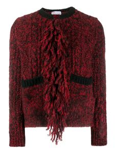 Red Valentino - Embroidered back fringes cardigan in red