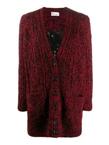 Red Valentino - Embroidered back melange cardigan in red