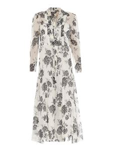 Red Valentino - Floral silk dress with scarf in white