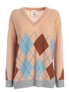 Semicouture - Gertrude pullover in pink, brown and light blue